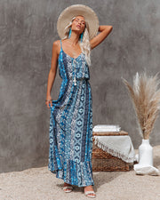 Time Spent Lace Up Paisley Maxi Dress view 5