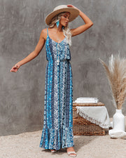 Time Spent Lace Up Paisley Maxi Dress view 1