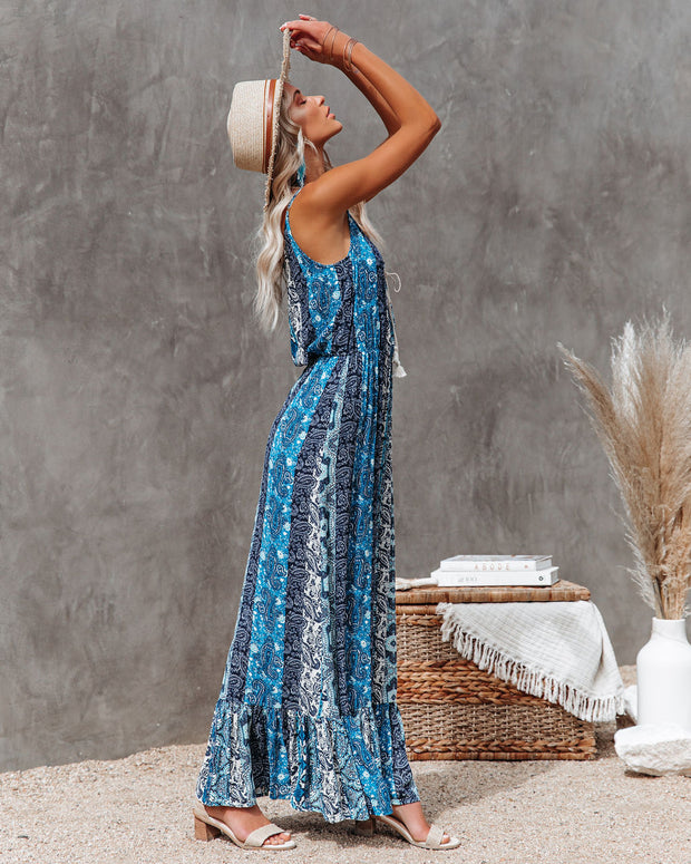 Time Spent Lace Up Paisley Maxi Dress view 7