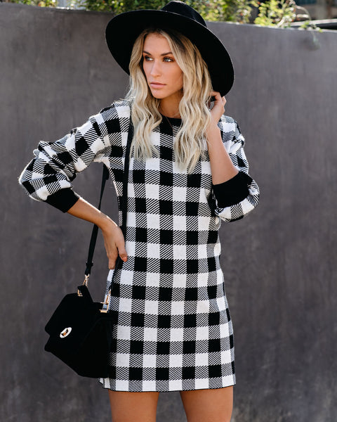 Times Square Gingham Sweater Dress