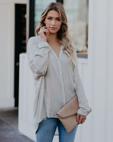 Timothy Striped Button Down Relaxed Top- FINAL SALE