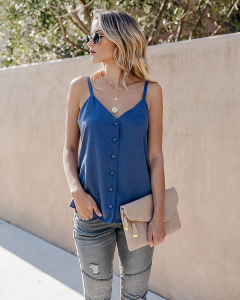 Tinsley Button Down Adjustable Tank - Night Blue