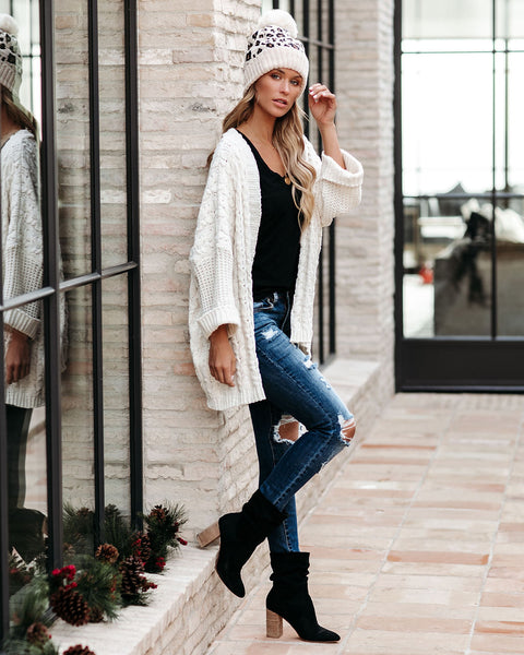 Toboggan Cable Knit Chenille Cardigan - Cream  - FINAL SALE