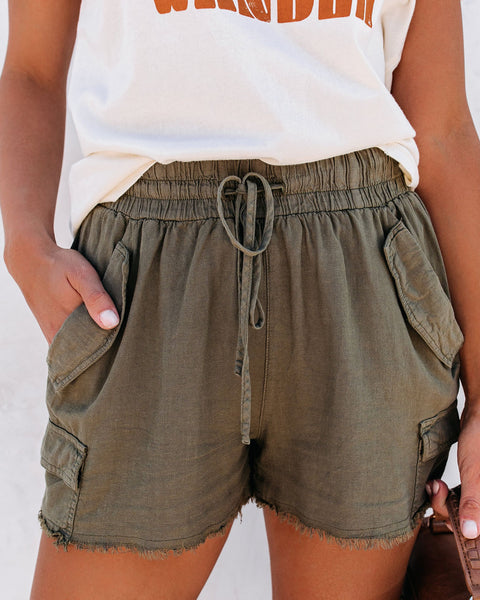 Tomboy Linen Blend Pocketed Cargo Shorts- FINAL SALE