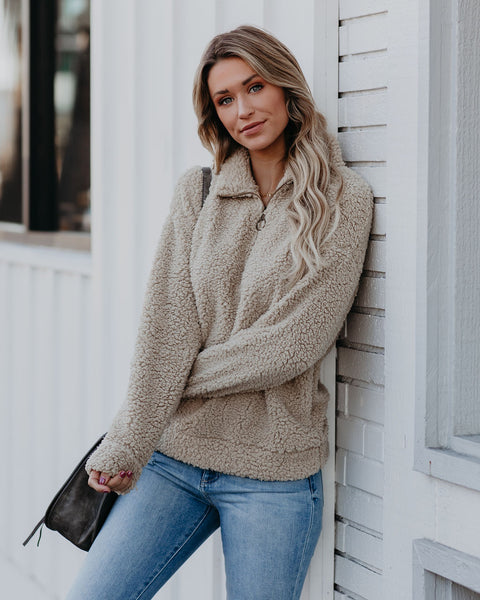 Toodles Pocketed Half Zip Sherpa Pullover - FINAL SALE