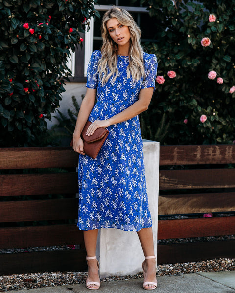 Too Little, Too Late Floral Midi Dress  - FINAL SALE