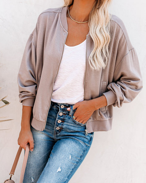 Too Soft Pocketed Bomber Jacket - Putty