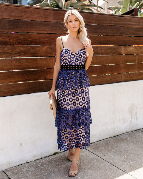 To Perfection Tiered Crochet Lace Midi Dress
