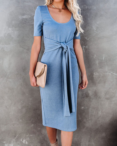 Torrance Tie Front Knit Midi Dress