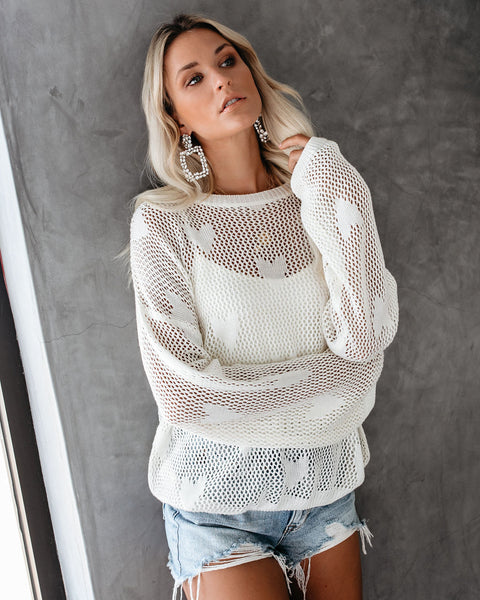 Total Heartthrob Crochet Pullover - Cream