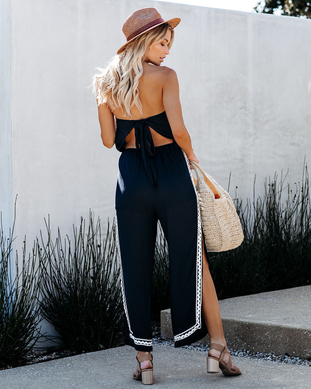 To The Beach And Back Strapless Ricrac Jumpsuit