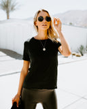 Tough Love Distressed Linen Tee - Black - FLASH SALE