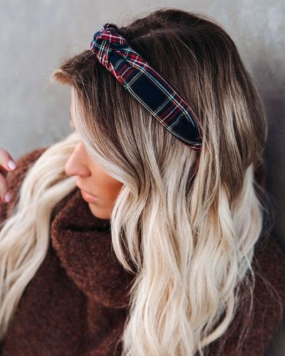 Traditions Plaid Twist Headband - Navy