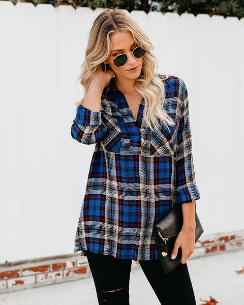 Traditions Woven Plaid Top