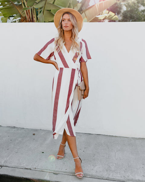 Travel Bug Striped Wrap Midi Dress