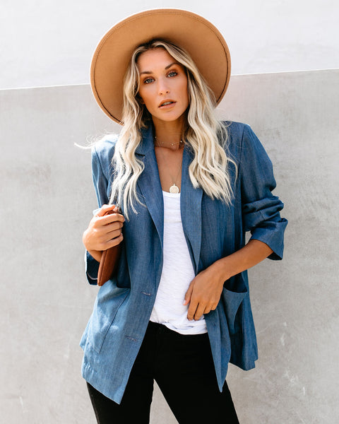 Travel Light Pocketed Chambray Blazer - FINAL SALE