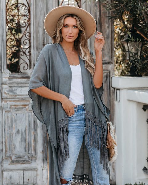 Travel The World Tassel Kimono - Dark Grey