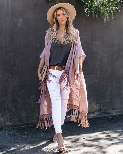 Travel The World Tassel Kimono - Mauve