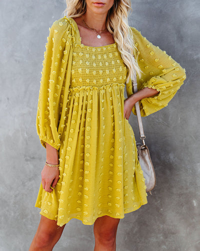 Treat Yourself Pocketed Pom Dress - Lime