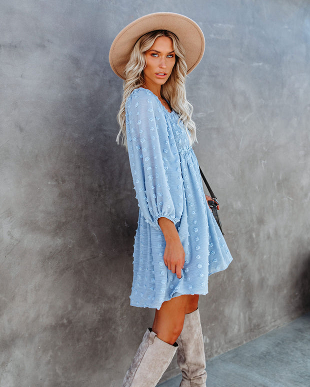 Treat Yourself Pocketed Pom Dress - Misty Blue