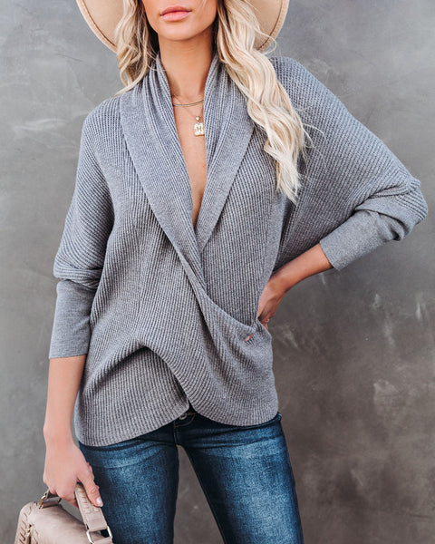 Treehouse Drape Knit Sweater - Heather Ash  - FINAL SALE