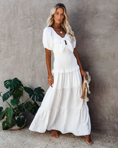 Tricia Smocked Tie Front Tiered Maxi Dress