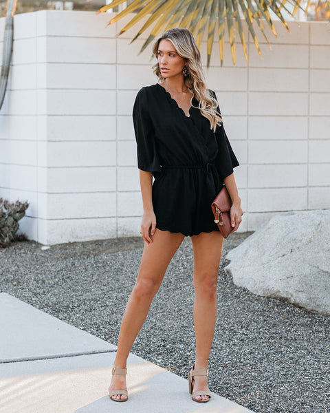 Trip Around The Sun Scalloped Romper - Black