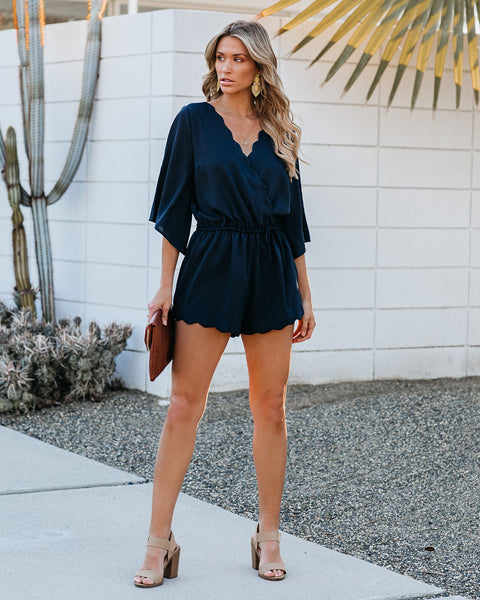 Trip Around The Sun Scalloped Romper - Navy