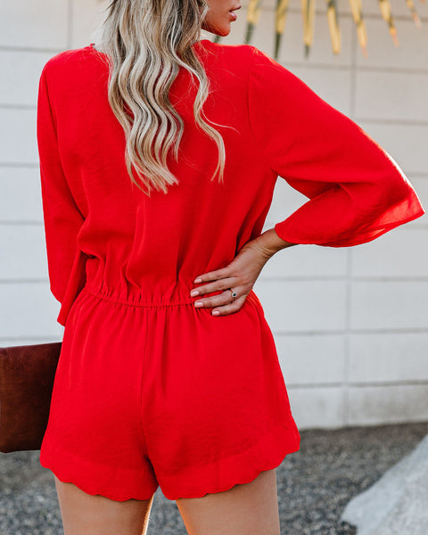 Trip Around The Sun Scalloped Romper - Tomato