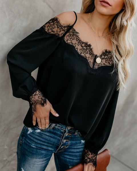 Trixie Lace Cold Shoulder Blouse