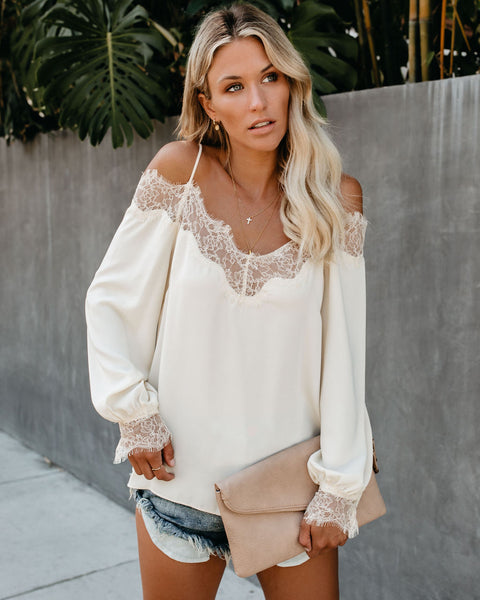 Trixie Lace Cold Shoulder Blouse - Cream