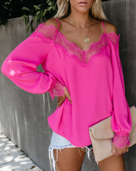 Trixie Lace Cold Shoulder Blouse - Fuchsia
