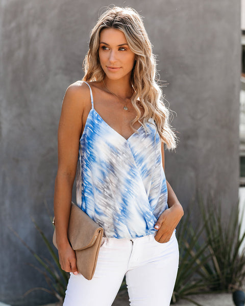 Troubles Wash Away Printed Surplice Cami Tank - FINAL SALE