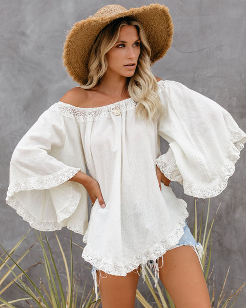 True Bliss Off The Shoulder Bell Sleeve Crochet Top