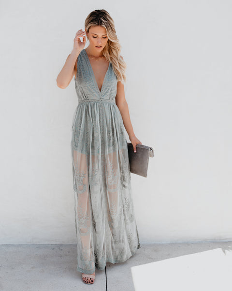 Trysta Lace Maxi Dress - Sage