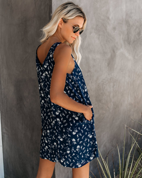 Tucson Pocketed Button Down Tank Dress - Navy - FINAL SALE