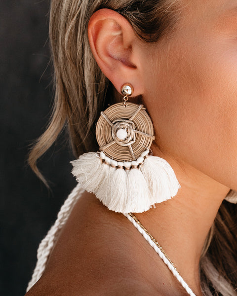 Tulum Woven Tassel Earrings