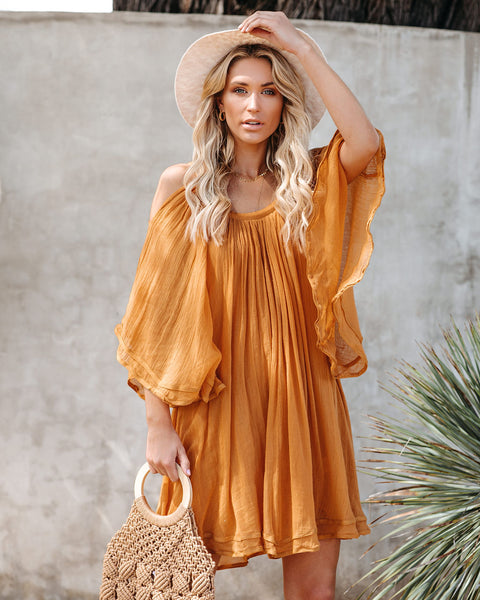 Turmeric Sunset Cotton Cold Shoulder Dress