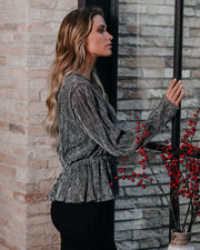 Turn Of The Year Metallic Plisse Top   - FINAL SALE