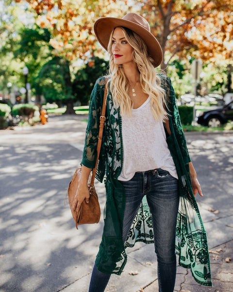 Tuscany Embroidered Lace Duster Kimono - Hunter Green