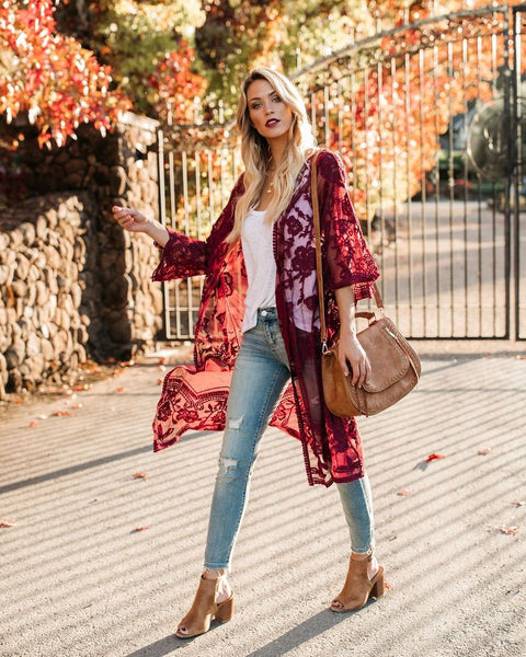 Tuscany Embroidered Lace Duster Kimono - Wine