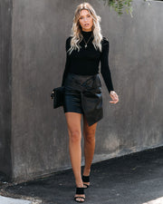 Twist And Shout Faux Leather Mini Skirt - Black - FINAL SALE
