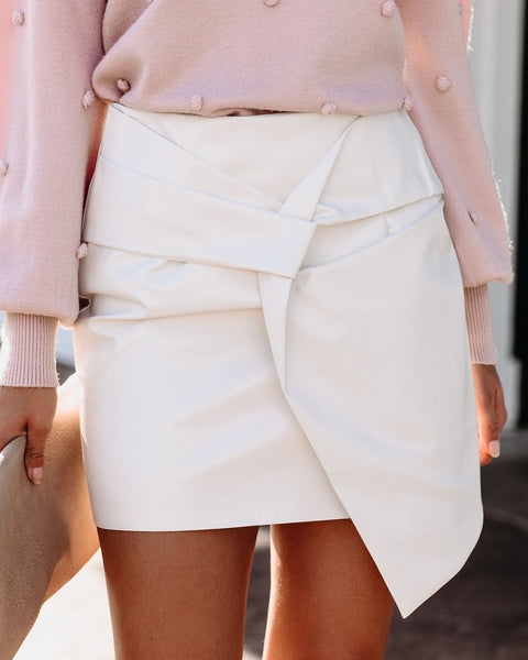 Twist And Shout Faux Leather Mini Skirt - Ivory