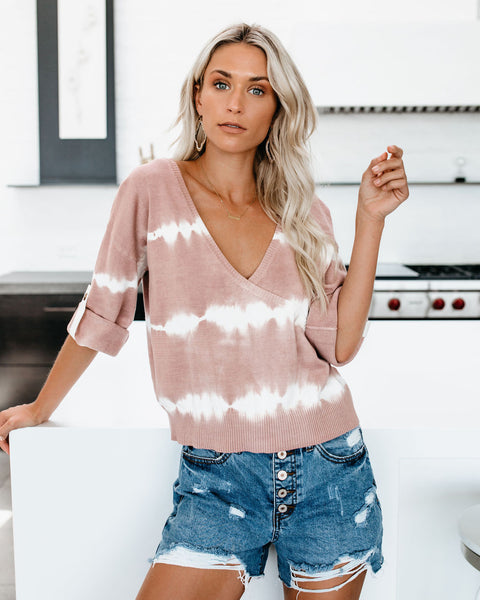 Two If By Sea Tie Dye Cotton Wrap Sweater - Mauve