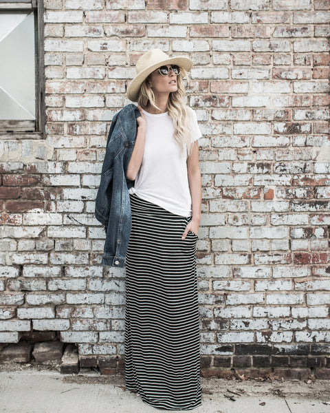 Brooklyn Striped Pocketed Maxi Skirt