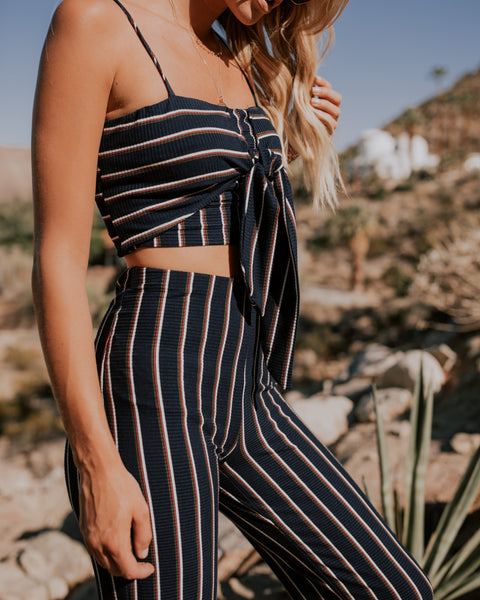 Spice Up Your Life Striped Tie Top - FINAL SALE