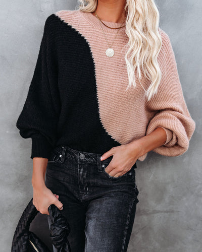 Two Roads Diverged Colorblock Knit Sweater