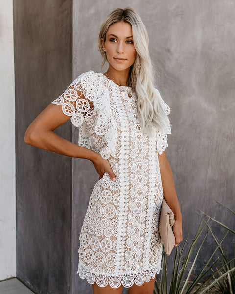 Two Souls, One Love Ruffle Crochet Dress - FINAL SALE