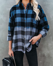 Two-Tone Cotton Plaid Button Down Top