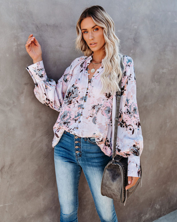 Udelle Floral Button Down Top